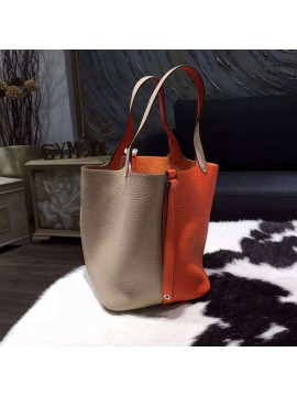 Hermes Bi-Color Picotin Lock Bag 22cm Taurillon Clemence Palladium Hardware Hand Stitched, Orange CC93/Gris Tourterelle CK81 RS06813