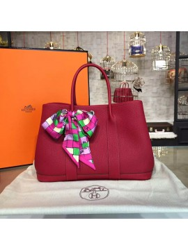Hermes Garden Party 30cm Togo Calfskin Leather Palladium Hardware High Quality, Rouge Casaque RS02812