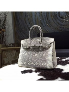 Replica Hermes Birkin 25cm Natural Lizard Skin Bag Handstitched Palladium Hardware, Ombre/Shadow RS14924